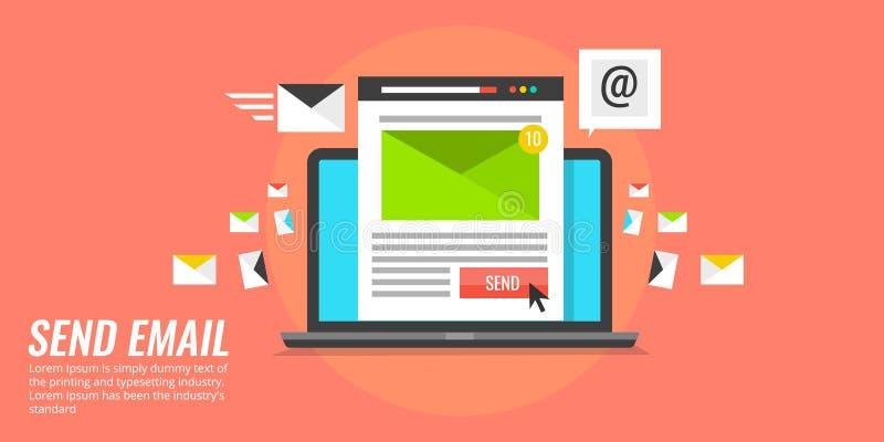 Laptop met envelop, die e-mail, globaal communicatie concept verzenden Vlakke ontwerp vectorillustratie stock illustratie