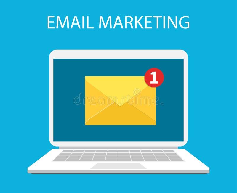 Laptop met envelop en open e-mail op het scherm royalty-vrije illustratie