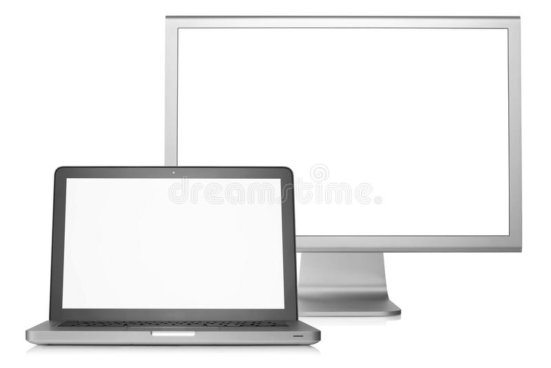 Laptop met externe vertoning stock fotografie