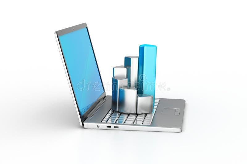 Laptop met financiële grafiek royalty-vrije illustratie