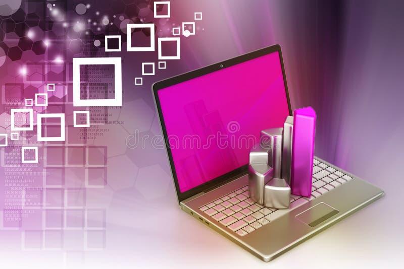 Laptop met financiële grafiek stock illustratie