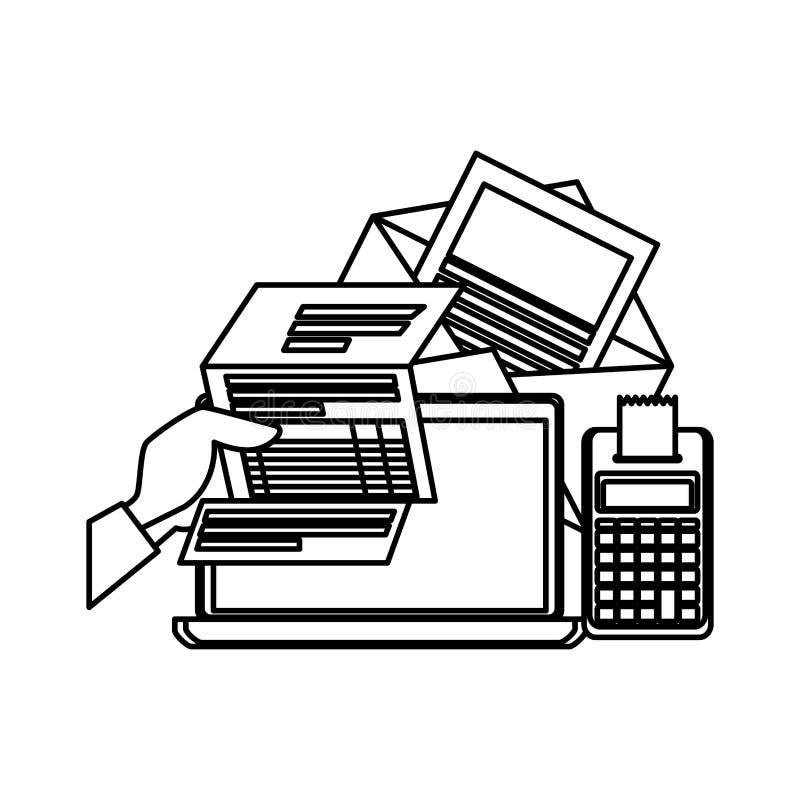 Laptop met gebruiker en belastingen vector illustratie