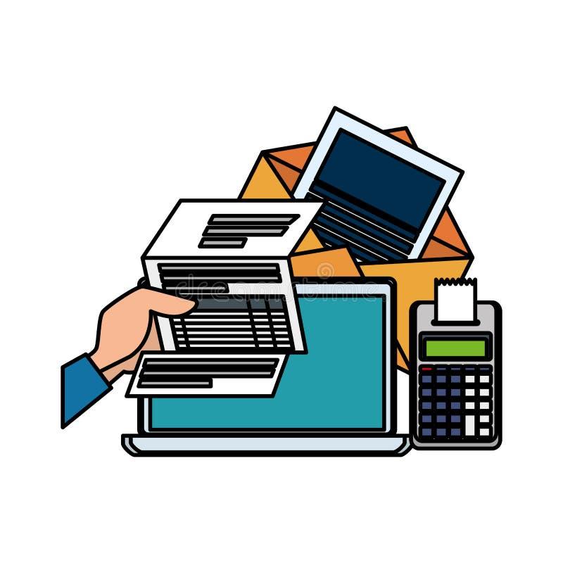 Laptop met gebruiker en belastingen royalty-vrije illustratie