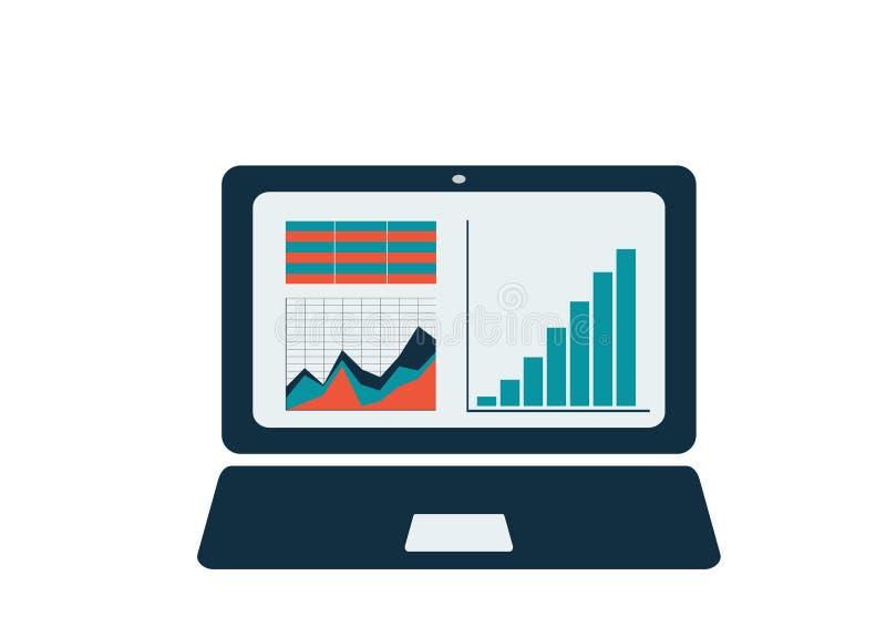 Laptop met grafieken, diagram en lijst aangaande het scherm royalty-vrije illustratie