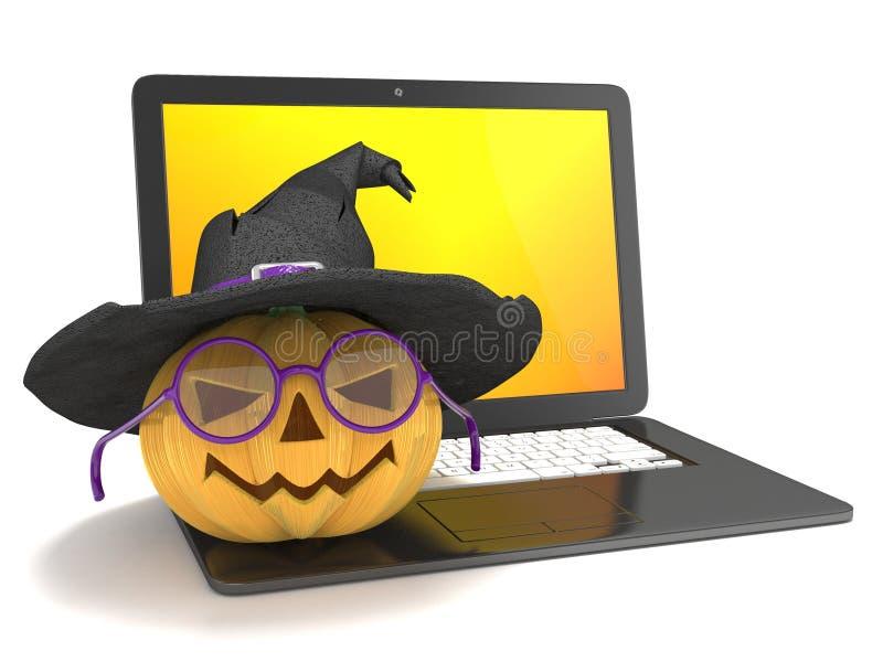 Laptop met grappige Jack O Lantaarn en Halloween-heksenhoed 3d geef terug vector illustratie