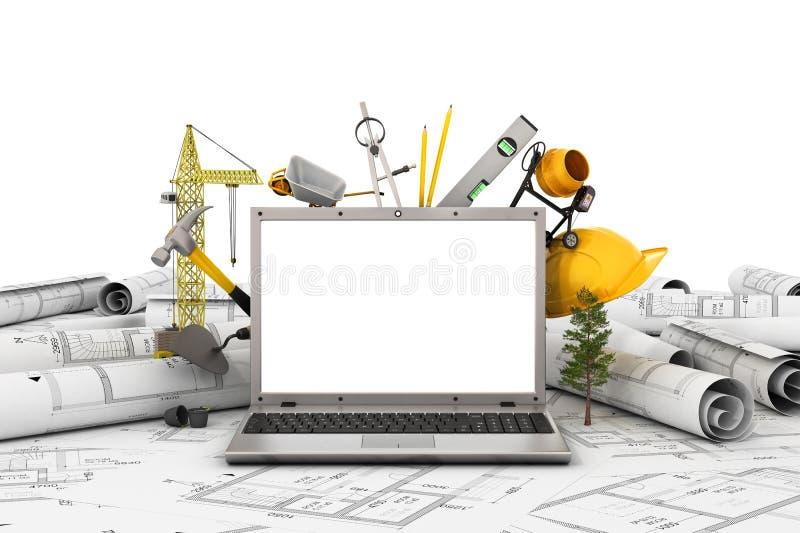 Laptop met het lege scherm en voorwerp voor bouw royalty-vrije illustratie