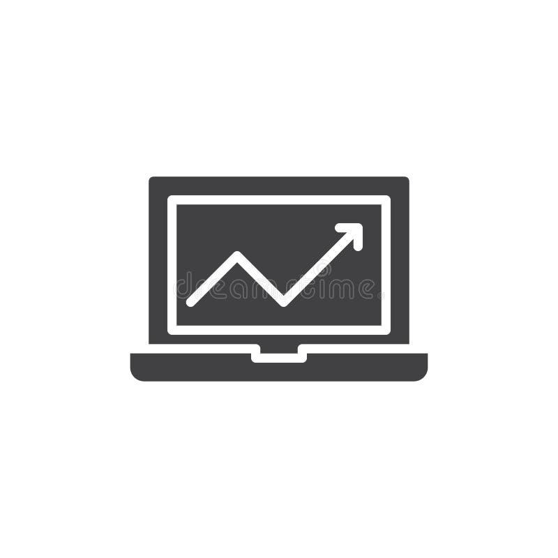 Laptop met het vector, gevulde vlakke teken van het grafiekpictogram, stevig die pictogram op wit wordt geïsoleerd stock illustratie