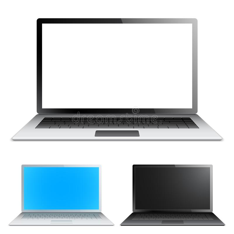 Laptop met het witte scherm stock illustratie