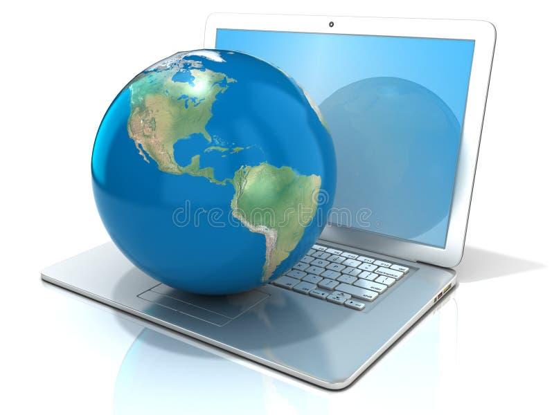 Laptop met illustratie van aardebol, de mening van Amerika stock illustratie