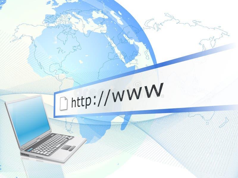 Laptop met Internet aansluting stock illustratie