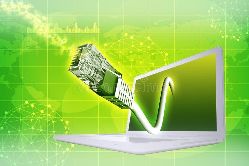 Laptop met kabel royalty-vrije illustratie