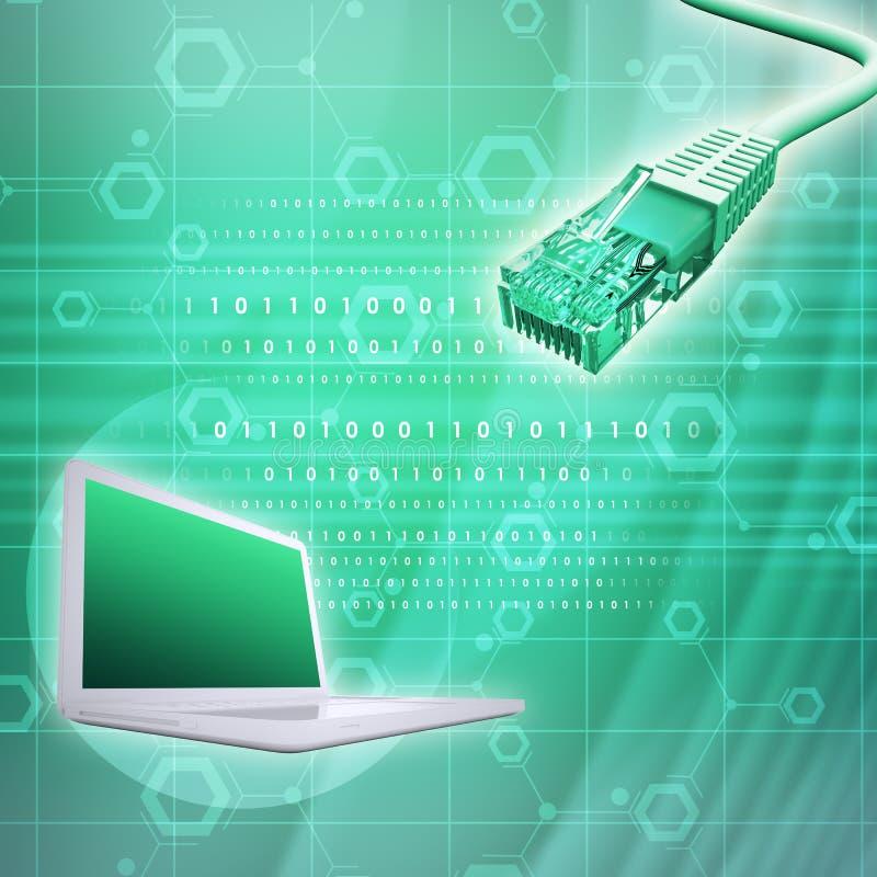 Laptop met kabel en aantallen royalty-vrije illustratie