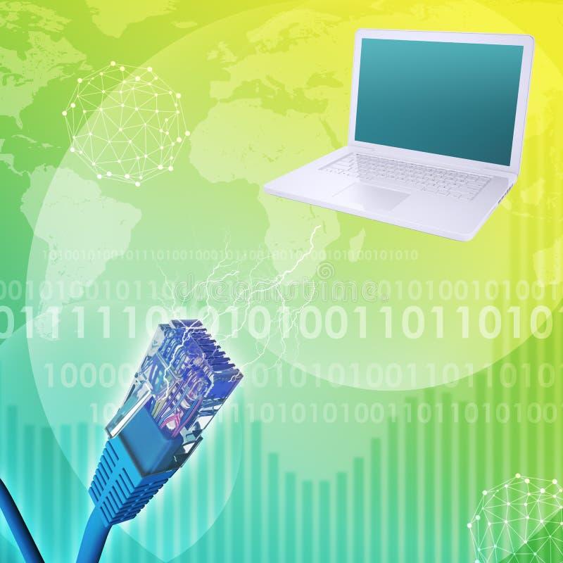 Laptop met kabel en wereldkaart royalty-vrije illustratie