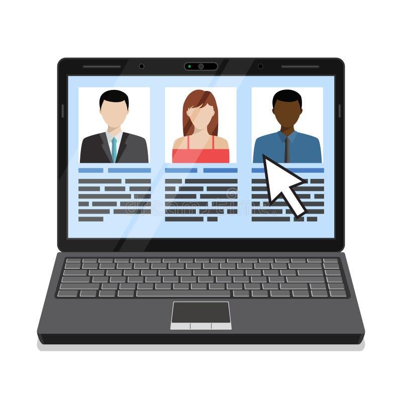 Laptop met kandidatenlijst stock afbeelding