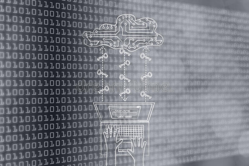 Laptop met kringswolk en sleutels, veilige wachtwoorden en wolkensto royalty-vrije stock foto's