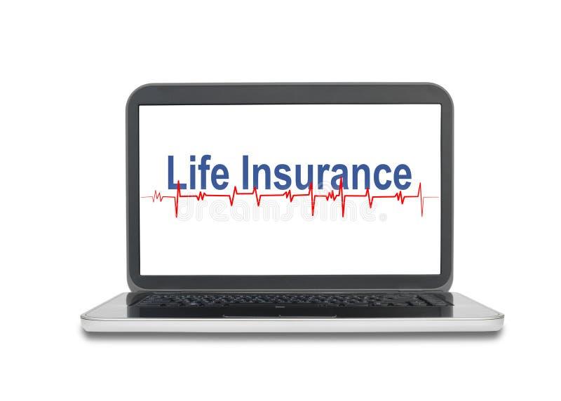 Laptop met Levensverzekeringswoord op het schermvertoning op wh stock fotografie