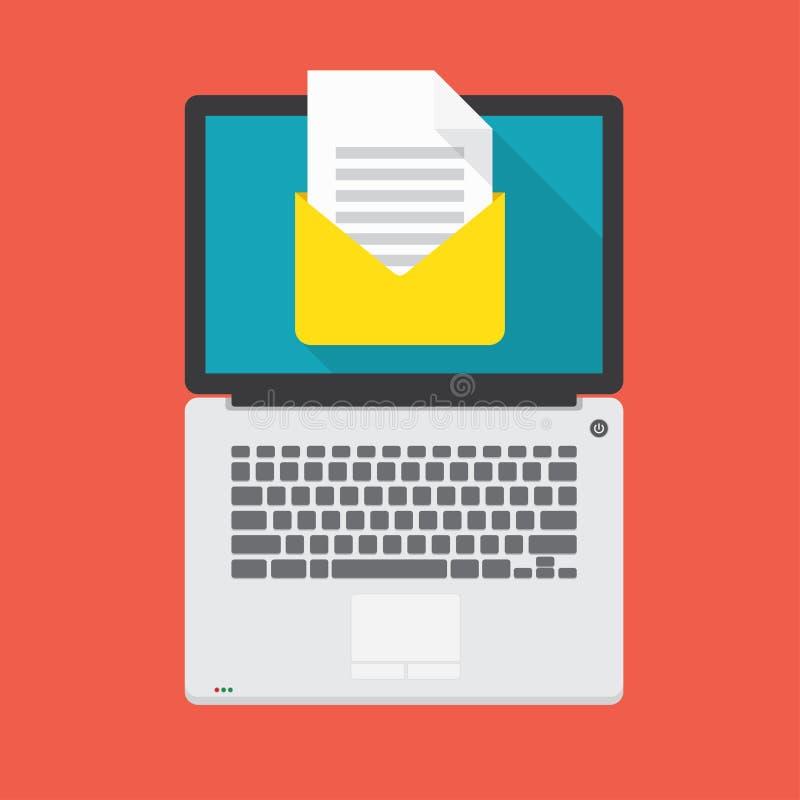 Laptop met open e-mailbericht op het scherm stock illustratie
