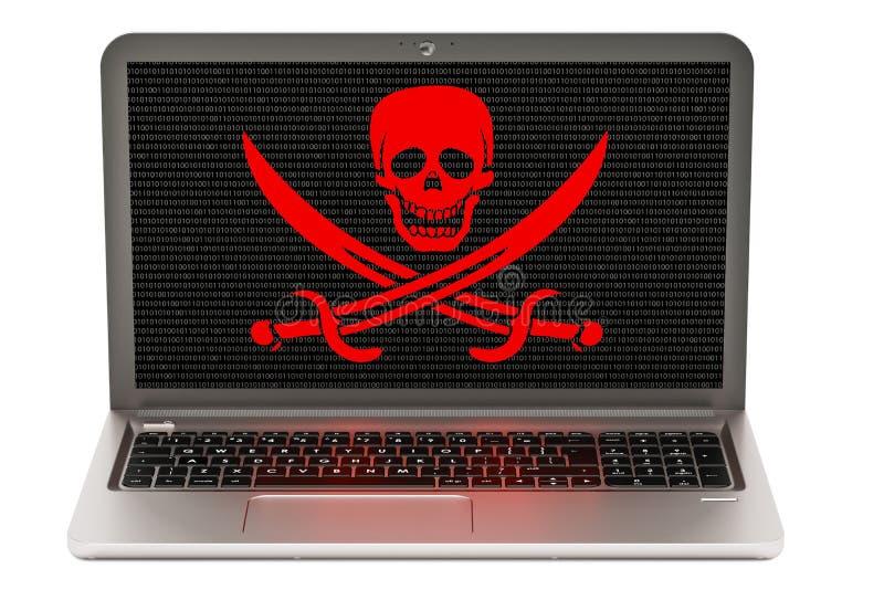 Laptop met schedel, virusconcept het 3d teruggeven royalty-vrije illustratie