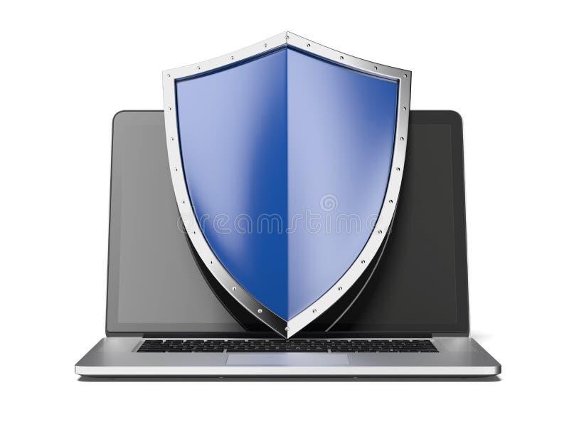 Laptop met schild stock foto