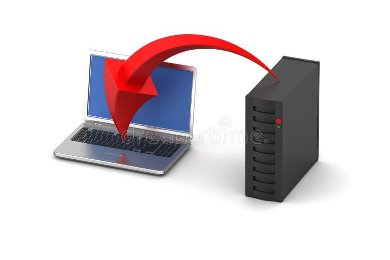 Laptop met server royalty-vrije illustratie