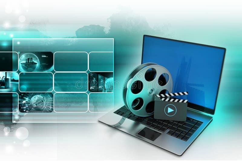 Laptop met spoel stock illustratie