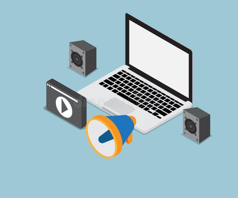 Laptop met spreker en het pictogram van verschillende media vector illustratie