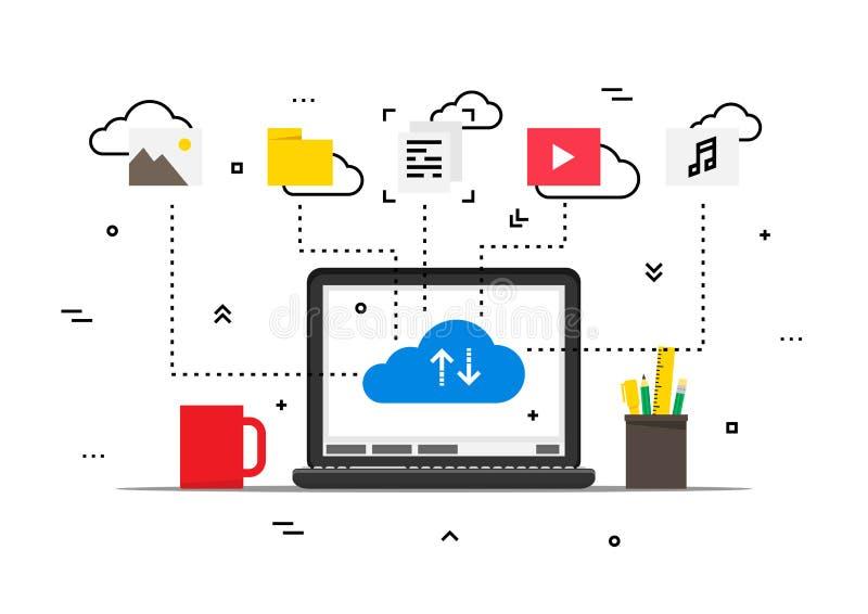 Laptop met van de opslaggegevens van wolkengegevens de vectorillustratie royalty-vrije illustratie