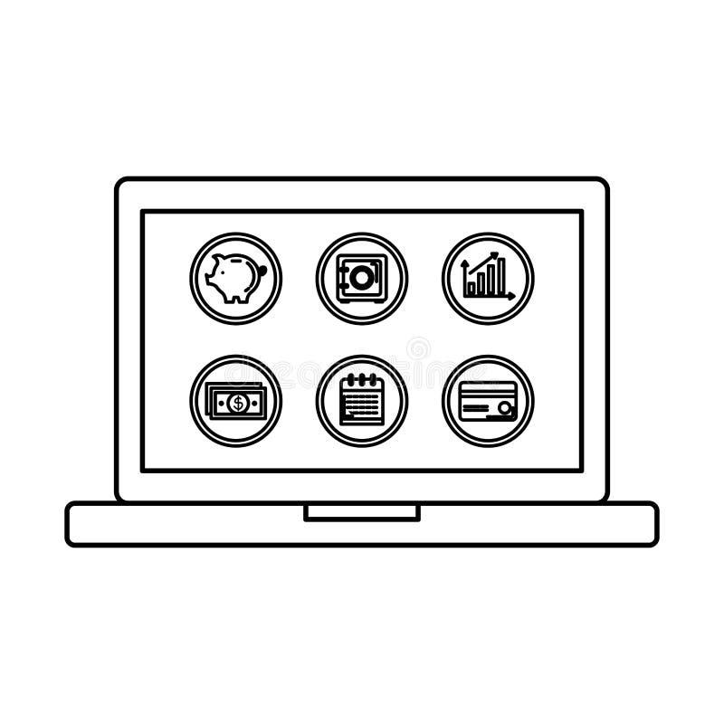 Laptop met vastgestelde bedrijfspictogrammen royalty-vrije illustratie