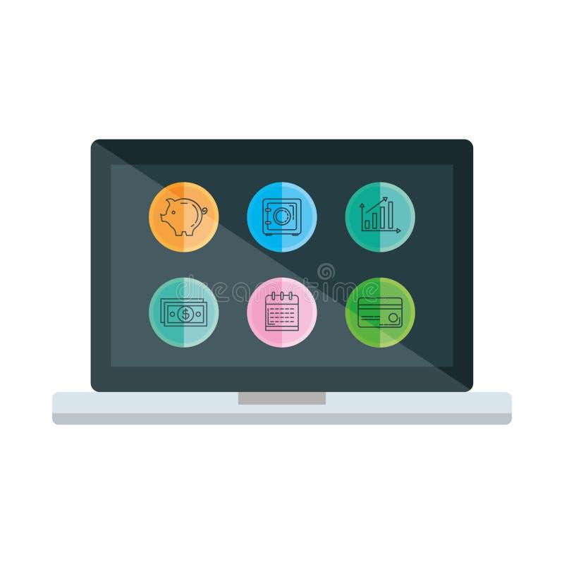 Laptop met vastgestelde bedrijfspictogrammen vector illustratie