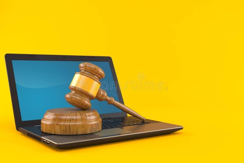 Laptop met veilingshamer vector illustratie