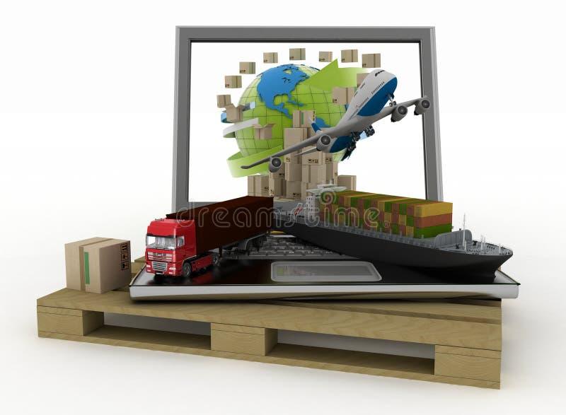 Laptop met vrachtschip, vrachtwagen, vliegtuig en dozen rond bol op houten pallet royalty-vrije illustratie