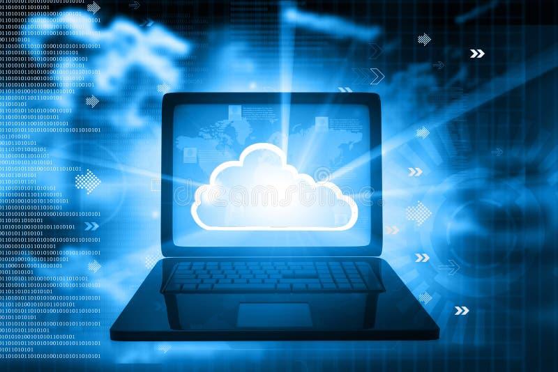 Laptop met wolk stock illustratie
