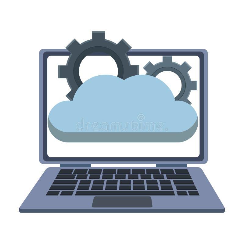 Laptop met wolk gegevensverwerking vector illustratie