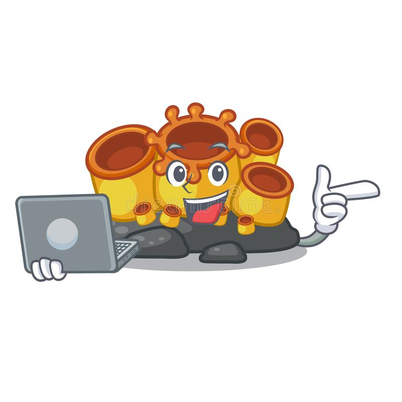 With laptop miniature orange sponge coral in character. Vector illustration vector illustration