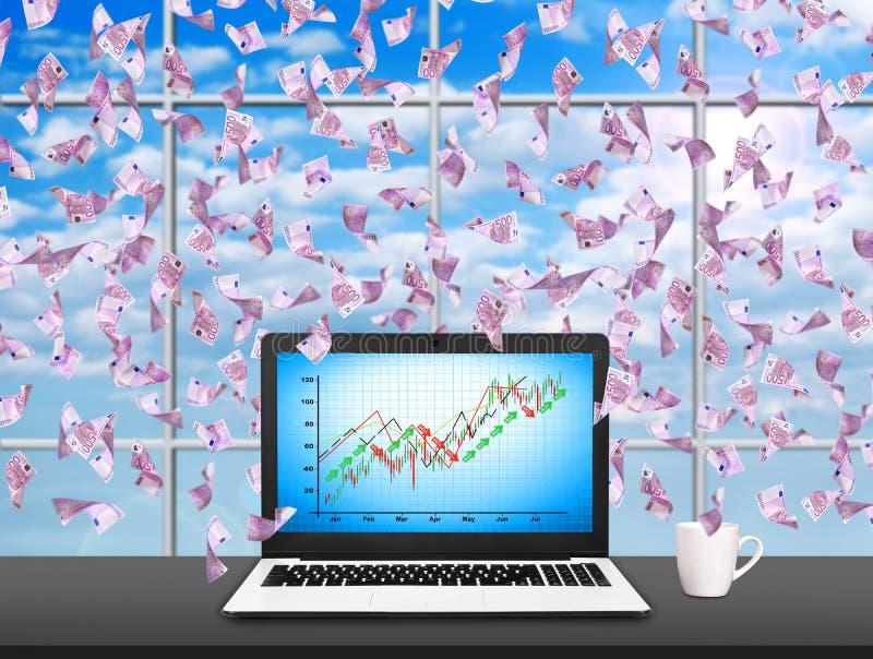 Laptop mit Aktienkurve vektor abbildung
