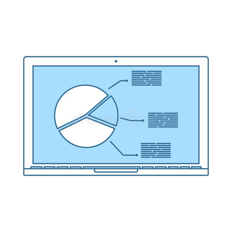 Laptop mit Analytics stellen Ikone grafisch dar lizenzfreie abbildung