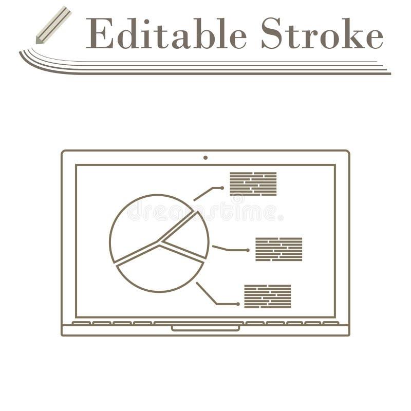 Laptop mit Analytics stellen Ikone grafisch dar vektor abbildung