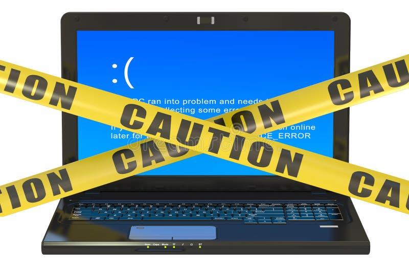 Laptop mit blauem Fehlerschirm vektor abbildung