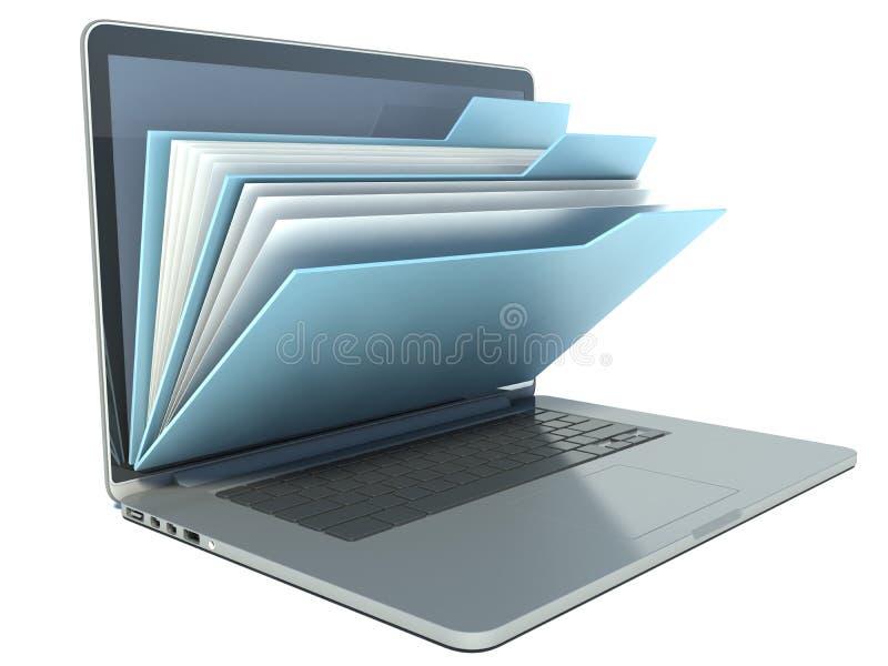 Laptop mit blauen Ordnern vektor abbildung