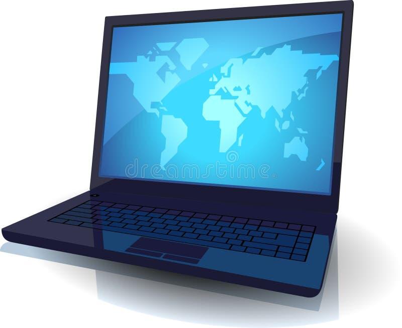 Laptop mit blauer Karte der Welt vektor abbildung