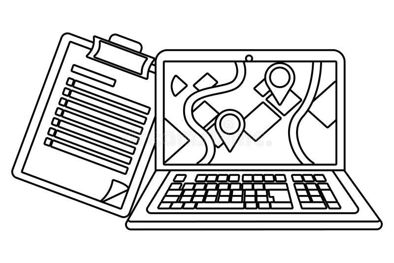 Laptop mit Checkliste in Schwarzweiss stock abbildung