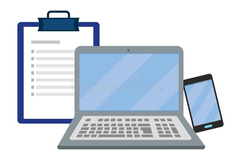 Laptop mit Checklistenvektorillustration stock abbildung