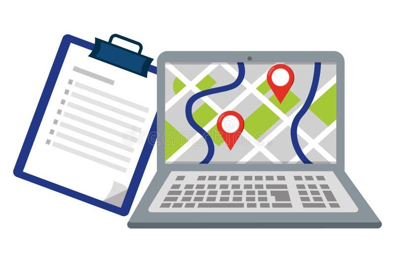 Laptop mit Checklistenvektorillustration lizenzfreie abbildung