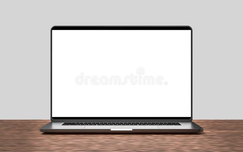 Laptop mit dem leeren Bildschirm lokalisiert auf dunklem Hintergrund lizenzfreie abbildung