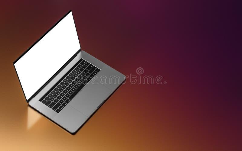 Laptop mit dem leeren Bildschirm lokalisiert auf dunklem Hintergrund stock abbildung