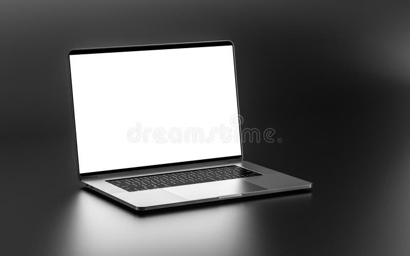 Laptop mit dem leeren Bildschirm lokalisiert auf dunklem Hintergrund $K lizenzfreie stockfotos