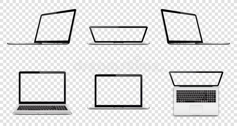 Laptop mit dem transparenten Schirm lokalisiert auf transparentem Hintergrund Perspektive, Spitze und Vorderansicht mit leerem Bi lizenzfreies stockfoto