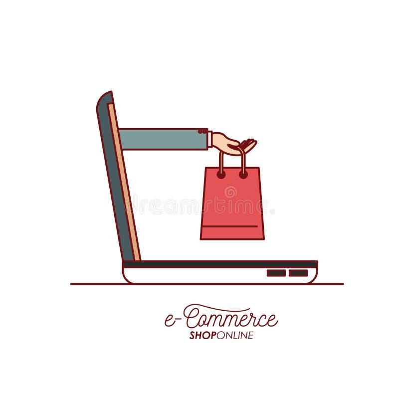 Laptop mit der Hand, die einen kaufenden Seitenansicht-E-Commerce-Shop der Tasche online auf weißem Hintergrund hält stock abbildung
