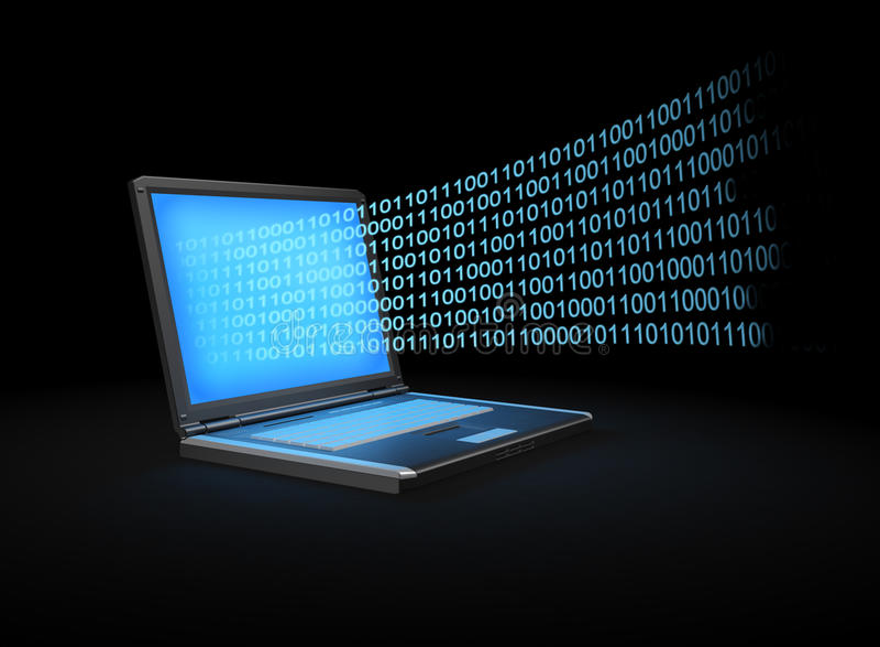 Laptop mit einem binären Strom von Daten stock abbildung