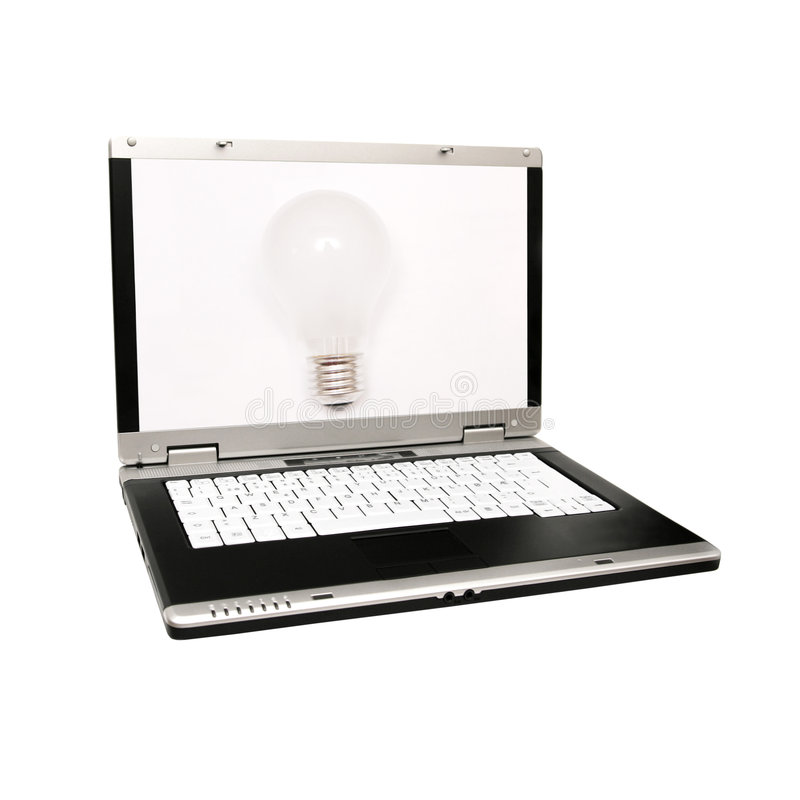 Laptop mit einer Glühlampe lizenzfreie stockfotografie